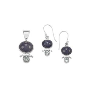 Tanzanite Set of Pendant & Earrings with Sky Blue Topaz in Sterling Silver 19cts