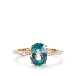 Ratanakiri Blue Zircon Ring with White Zircon in 10K Gold 3.36cts