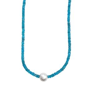 South Sea Cultured Pearl & Neon Apatite Sterling Silver Graduated Bead Necklace (10.40mm)