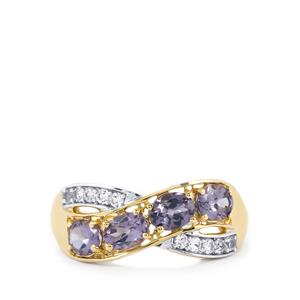 Mahenge Purple Spinel Ring with White Sapphire in 10k Gold 1.56cts