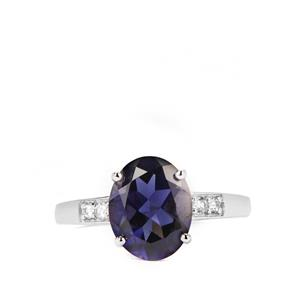 Bengal Iolite Ring with White Zircon in 9K White Gold 2.14cts