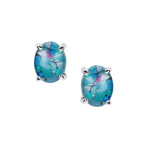 Mosaic Opal Earrings in Sterling Silver (8x6mm)