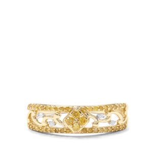 1/4ct Yellow & White Diamond 9K Gold Ring