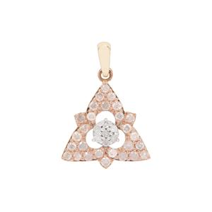 Diamond Pendant in 9K Three Tone Gold 0.51ct