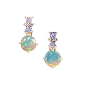 Kelayi Opal Earrings with Tanzanite in 9K Gold 1.95cts