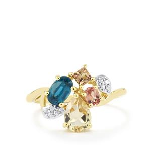 Harlequin Gems Ring in 10k Gold 1.62cts