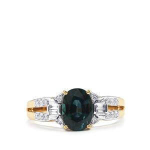 Nigerian Blue Sapphire Ring with Diamond in 18k Gold 1.92cts