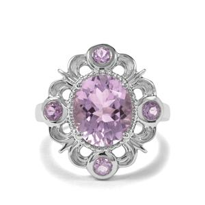 4.02ct Rose De France Amethyst Sterling Silver Ring