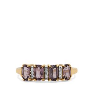 Burmese Pink Spinel & Diamond 9K Gold Ring ATGW 1.40cts