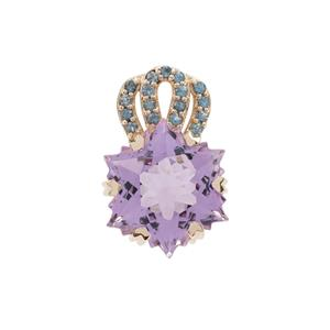 Wobito Snowflake Cut Rose De France Pink Amethyst Pendant with Marambaia London Blue Topaz in 9K Gold 7.30cts