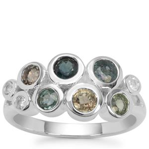 Songea Multi Sapphire Ring with White Zircon in Sterling Silver 1.65cts