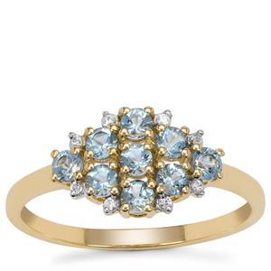 Santa Maria Aquamarine Ring with White Zircon in 9K Gold 0.60ct