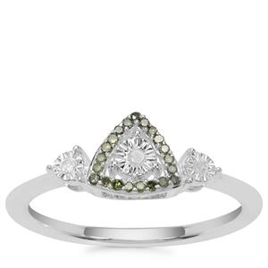 White Diamond Ring with Green Diamond in Sterling Silver 0.11ct