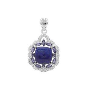 Sar-i-Sang Lapis Lazuli & Bengal Iolite Sterling Silver Pendant ATGW 7.03cts
