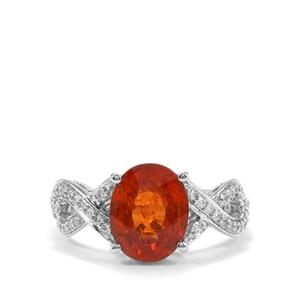 Mandarin Garnet & Diamond 18K White Gold Lorique Ring MTGW 4.25cts