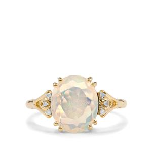 Ethiopian Opal & Diamond 10K Gold Ring ATGW 1.91cts