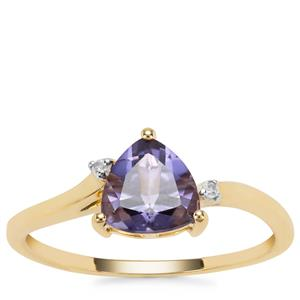 Montezuma Blue Quartz Ring with Diamond in 9K Gold 1.13cts