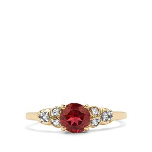 Malawi Garnet Ring with White Zircon in 10K Gold 1.05cts