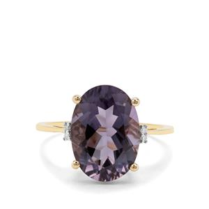 Montezuma Blue Quartz & Diamond 9K Gold Ring ATGW 5.19cts