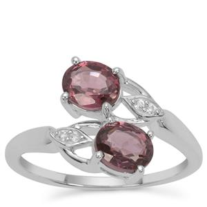 Burmese Spinel Ring with White Zircon in Sterling Silver 1.68cts