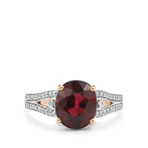 Malawi Garnet Ring with Diamond in 18K Gold 4.71cts