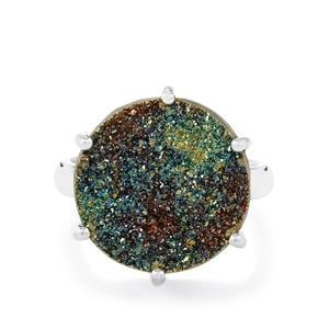 Spectropyrite Drusy Ring in Sterling Silver 11cts