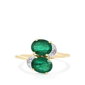 Minas Gerais Emerald Ring with White Diamond in 9K Gold 2.24cts