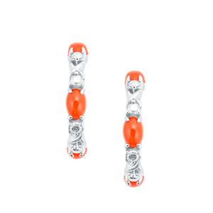 1.92cts Ethiopian Tangerine Opal Sterling Silver Earrings