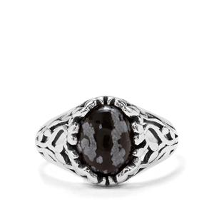 2.59ct Snowflake Obsidian Sterling Silver Ring