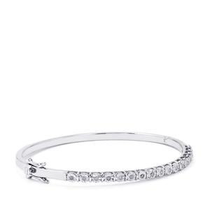 1/4ct Diamond Sterling Silver Halo Diamond Oval Bangle