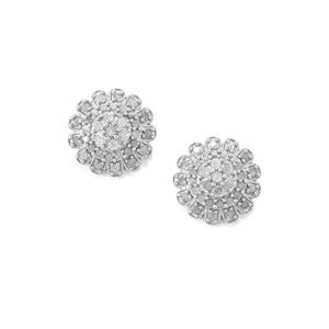 Diamond Earrings in Sterling Silver 1ct