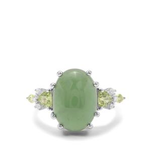 Imperial Serpentine, Peridot & White Zircon Sterling Silver Ring ATGW 8.02cts