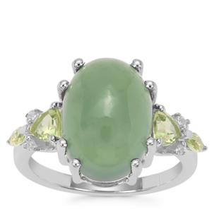Imperial Serpentine, Peridot Ring with White Zircon in Sterling Silver 8.02cts