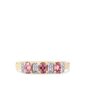 Burmese Pink Spinel Ring with Diamond in 9K Gold 0.77ct