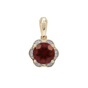 Madeira Citrine Pendant with White Zircon in 9K Gold 1.70cts