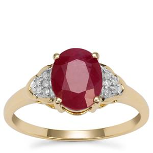 Burmese Ruby Ring with Diamond in 9K Gold 2.25cts