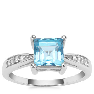 Swiss Blue Topaz Ring with White Zircon in Sterling Silver 2.20cts