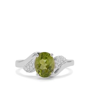 Red Dragon Peridot & White Zircon Sterling Silver Ring ATGW 2.10cts