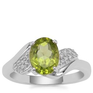 Red Dragon Peridot Ring with White Zircon in Sterling Silver 2.10cts