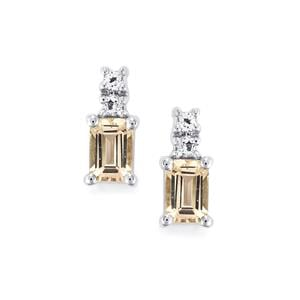 Danburite Earrings with White Topaz in Sterling Silver 1.30cts