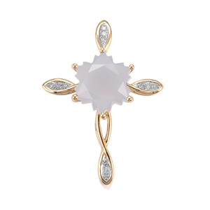 Chalcedony Wobito Snowflake Pendant with Diamond in 10K Gold 4.28cts