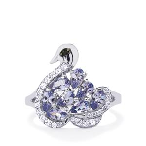 Tanzanite, Black Spinel & White Zircon Sterling Silver Odette Ring ATGW 2.13cts