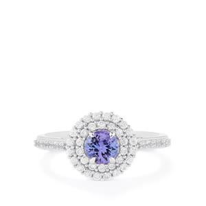 Tanzanite & White Zircon Sterling Silver Ring ATGW 1.13cts