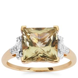 Csarite® Ring with Diamond in 18K Gold 4.01cts