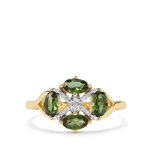Chrome Tourmaline & Diamond 9K Gold Ring ATGW 0.84cts