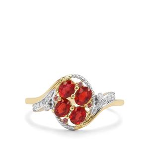 Songea Ruby, Pink Tourmaline & White Zircon 9K Gold Ring ATGW 0.95ct