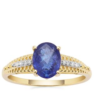 AAA Tanzanite Ring with Diamond in 9K Gold 1.69cts