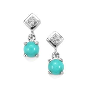 Sleeping Beauty Turquoise Earrings with White Topaz in Sterling Silver 1.08cts