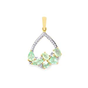 Paraiba Tourmaline Pendant with Diamond in 9K Gold 1.46cts