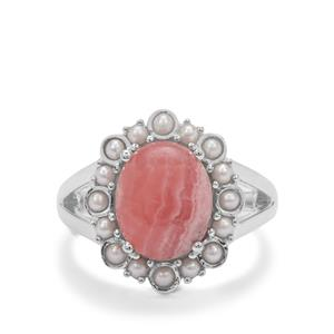 Rhodochrosite Ring with Kaori Cultured Pearl in Sterling Silver